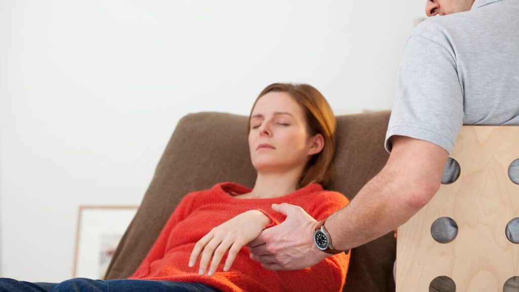 a woman in hypnosis process