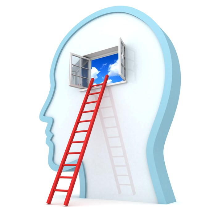 Human head withred ladder to opened sky window