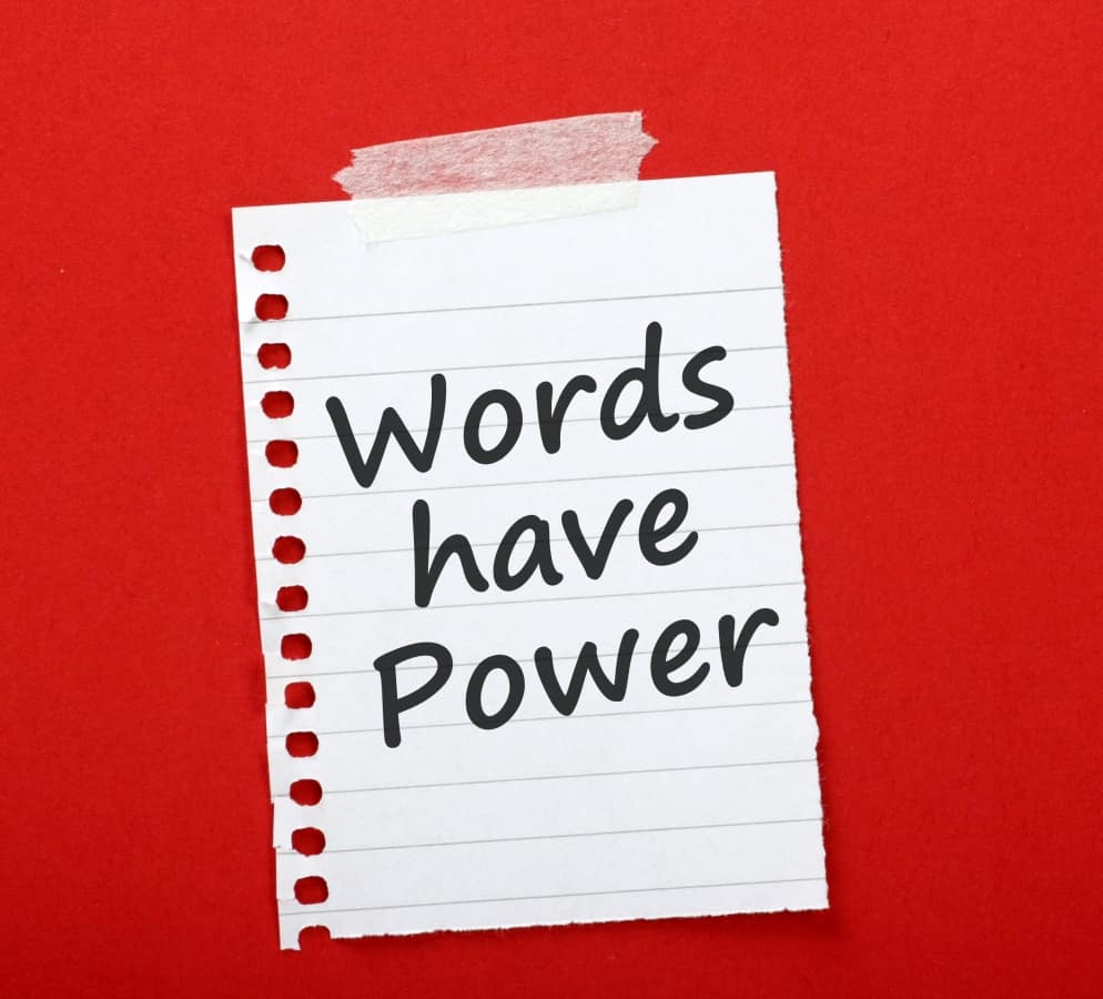 Words have power note on the red background