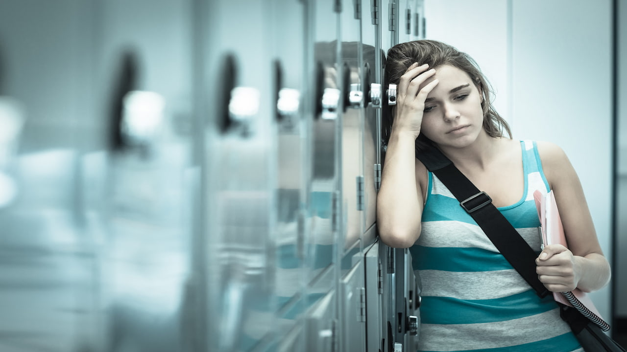 a student girl feeling sick