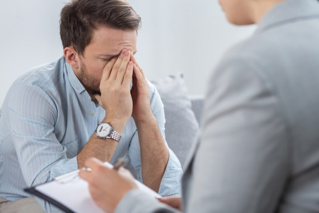 a man on the session at his therapist
