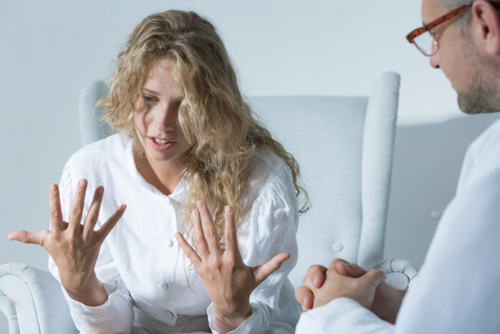 a young woman on her session at the therapist