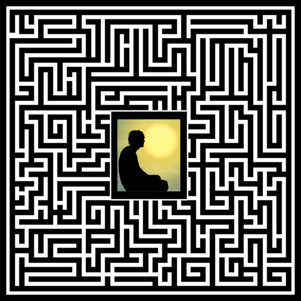 a person prisoned in the middle of the labyrinth