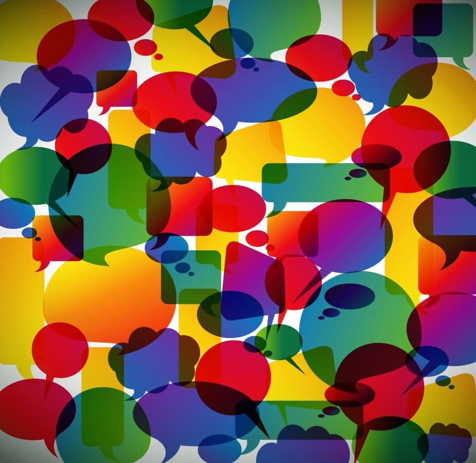 different colors and shapes speech bubbles