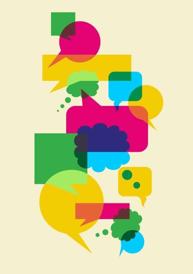 talking symbols in various colors