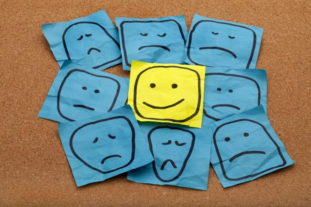 Positive attitude concept made of drawings on sticky notes