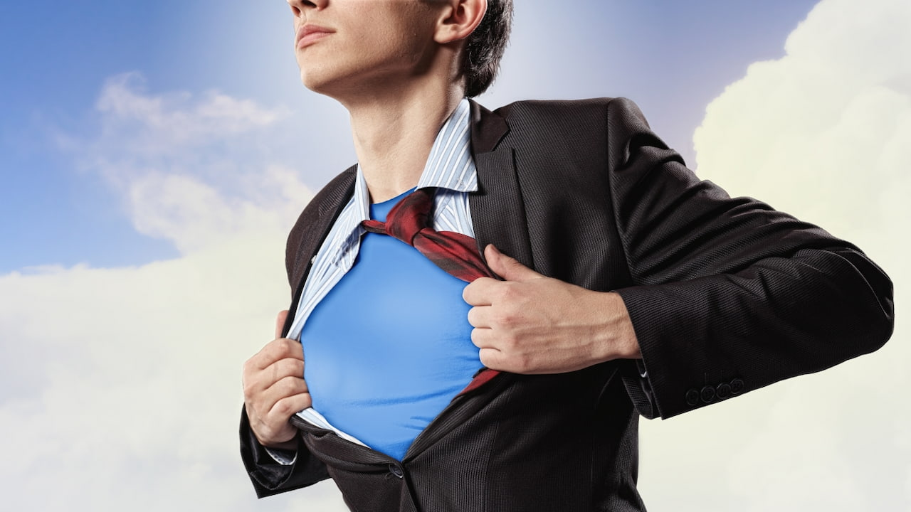 a man wearing a super hero suit under his clothes