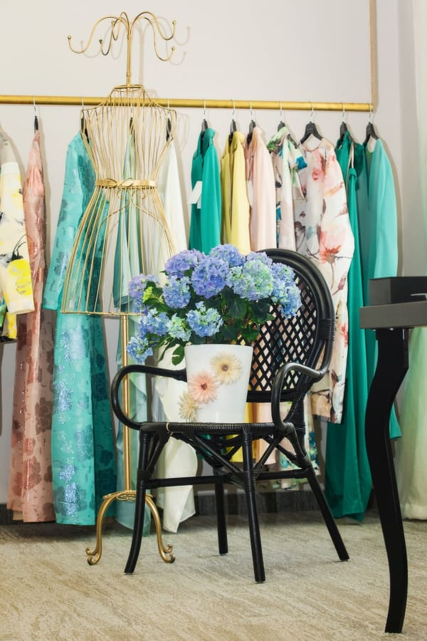 feminine dressing room with blue flowers on the chair