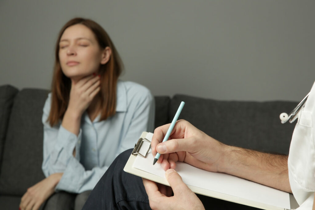 a woman at her hypnotherapy session