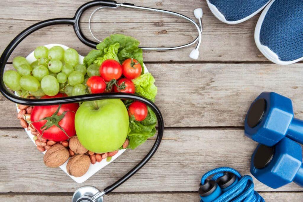 Stethoscope, organic food and sport equipment