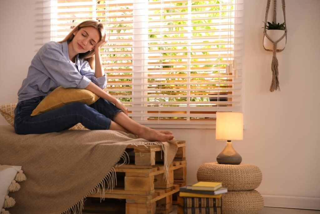 Young woman relaxing in calm environment