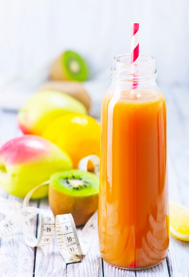 a juice made of fruits and vegetables