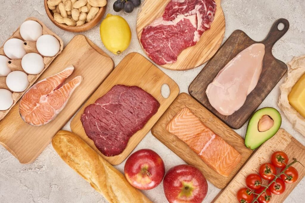 meat, fish, eggs, bread and fruits