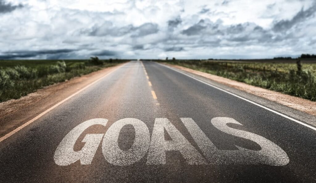 GOALS sign on the road