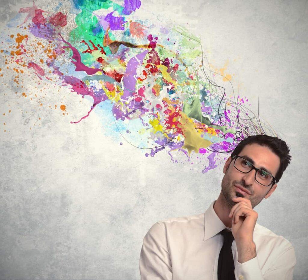 colourful illustration above man's head
