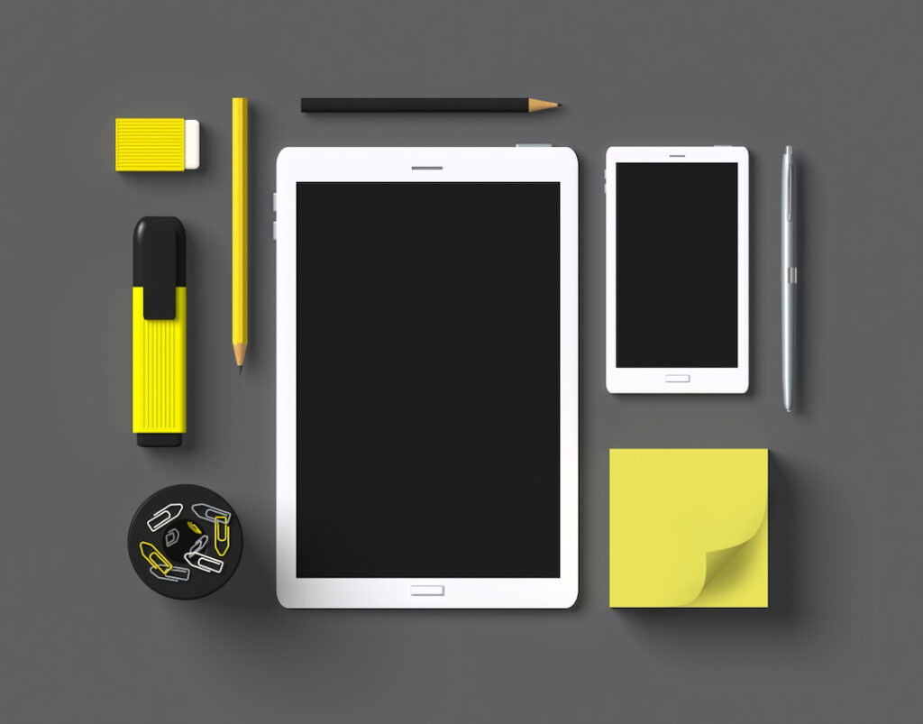 tablet, cellphone and office supplies