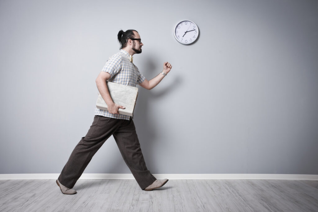 a man finishing his work on time