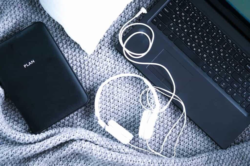 headphones and computer