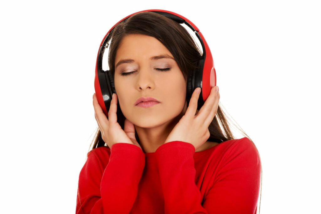 girl in red listening to audios